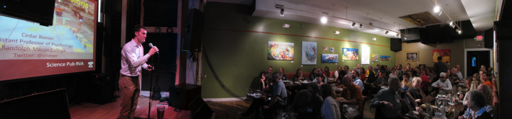 "I gave my ""Science of Illusions"" talk at a bar as part of SciPubRVA, photo by Kent Durvin"